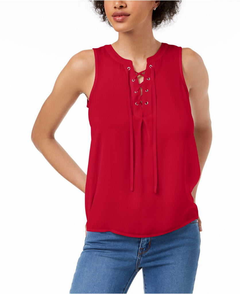 Yieldings Discount Clothing Store's Sleeveless Lace-Up Top by Maison Jules in Firespin