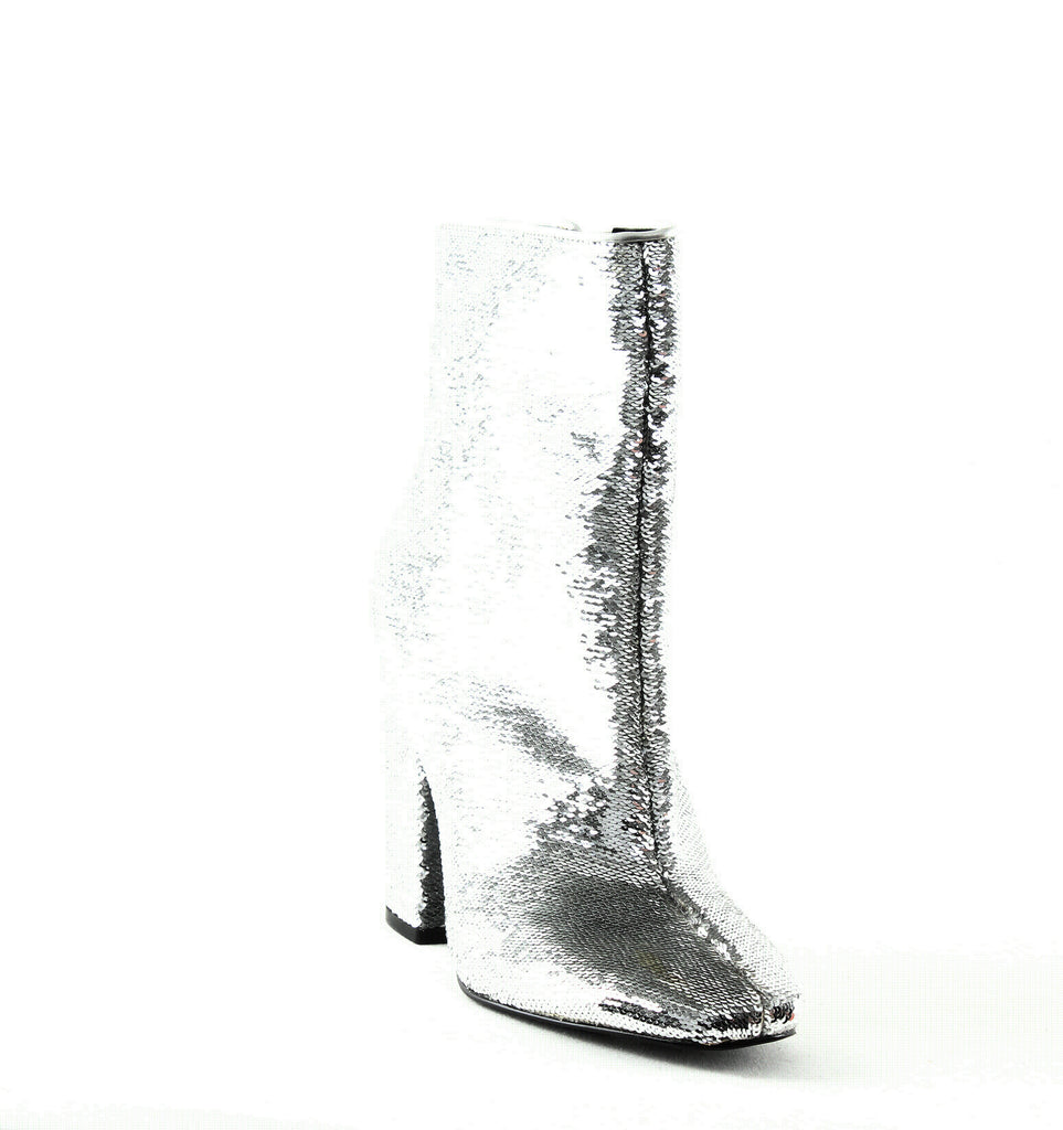 Yieldings Discount Shoes Store's Haedyn 5 Sequined Booties by Kendall + Kylie in Silver