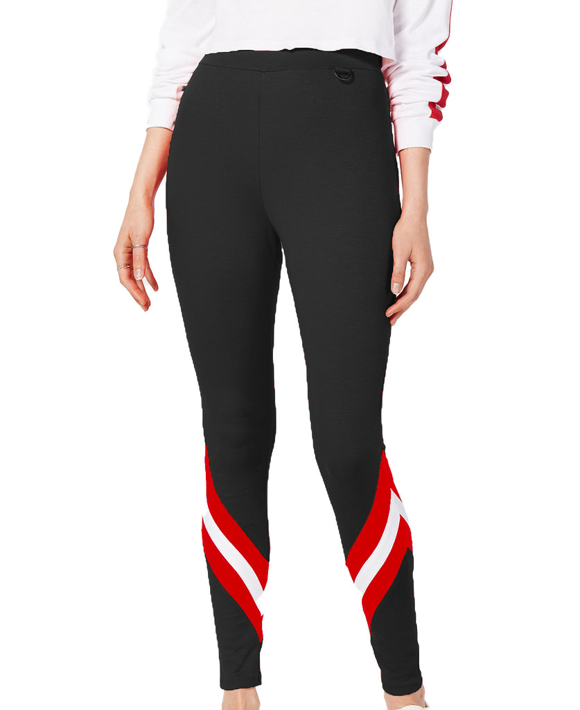 Yieldings Discount Clothing Store's TZ Sport 2 Stripe Legging by Project 28 in Black/Red