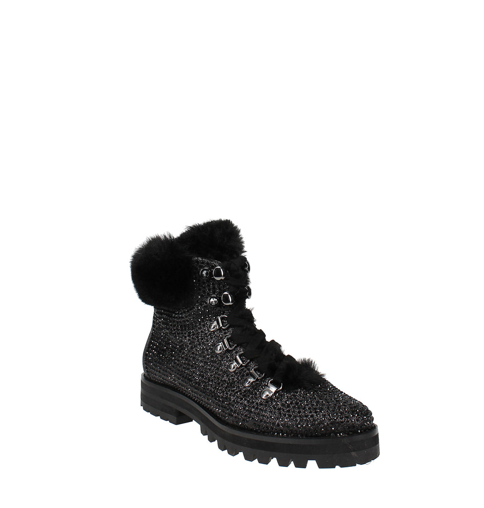 Yieldings Discount Shoes Store's Norina Embellished Hiker Booties by Jessica Simpson in Black
