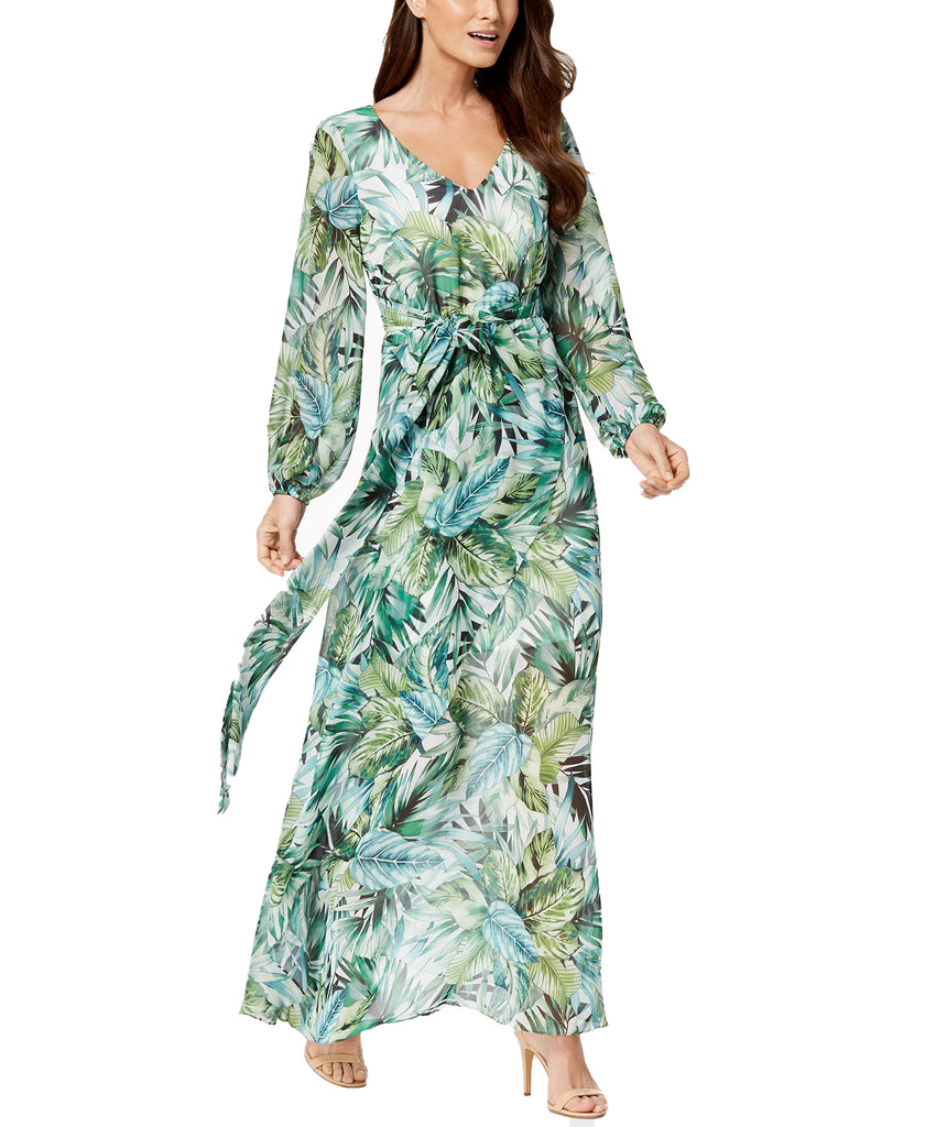 Nine West | Printed Faux Wrap Maxi Dress