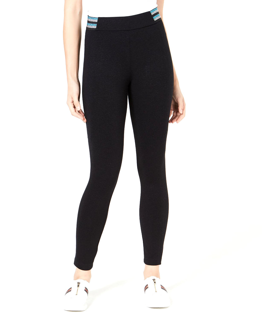 Yieldings Discount Clothing Store's Metallic-Stripe Varsity Leggings by Bar III in Deep Black