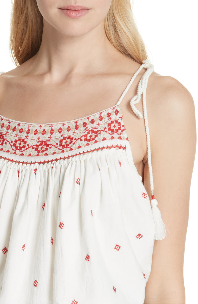 Yieldings Discount Clothing Store's Eternal Love Embroidered Tank Top by Free People in Ivory