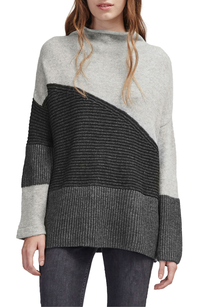 Yieldings Discount Clothing Store's Patchwork Mock Neck Sweater by French Connection in Grey