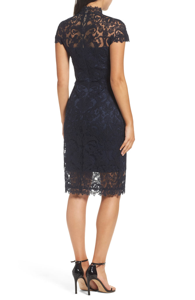 Yieldings Discount Clothing Store's Embroidered Illusion Dress by Tadashi Shoji in Navy