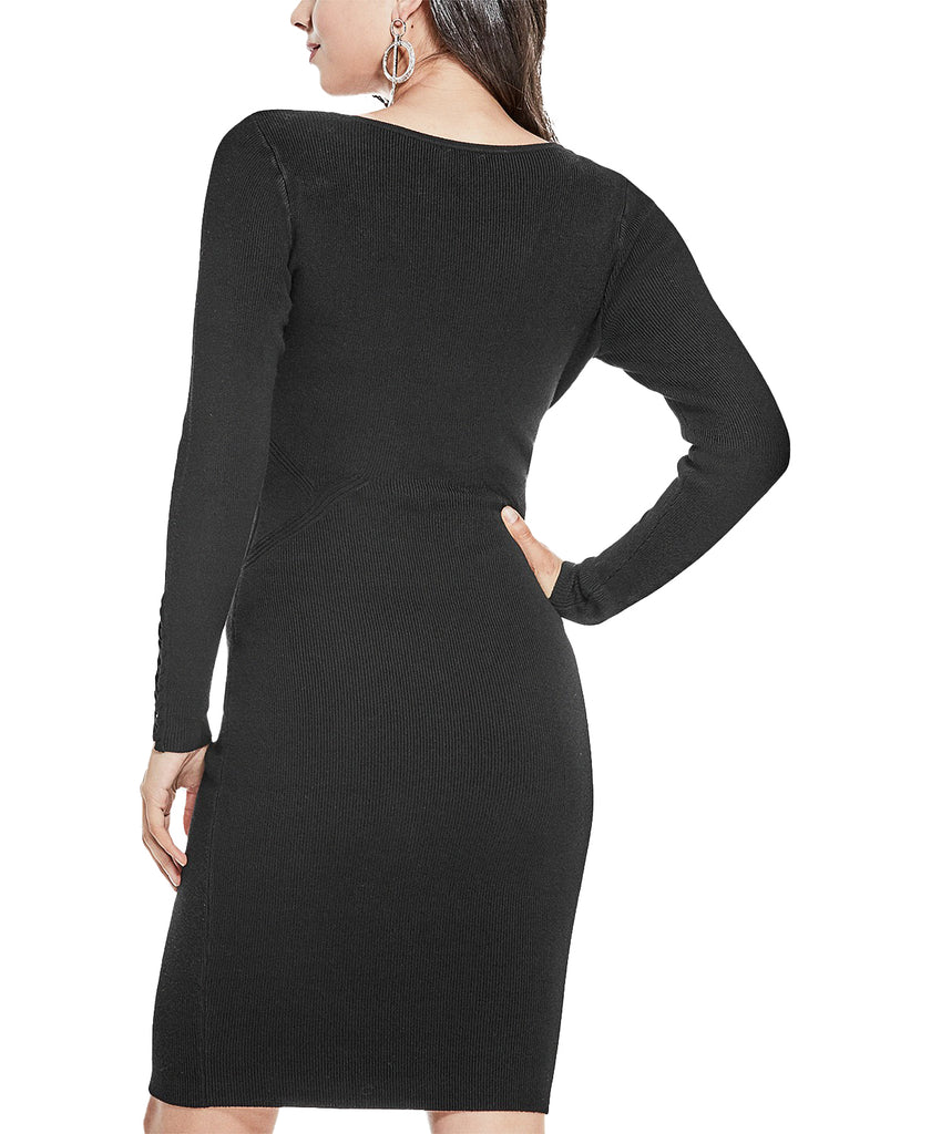 Yieldings Discount Clothing Store's Juniors Corset Sweater Dress by Guess in Black
