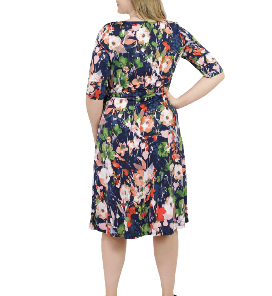 Yieldings Discount Clothing Store's Sweetheart Knit Wrap Dress by Kiyonna in Blue Floral Print