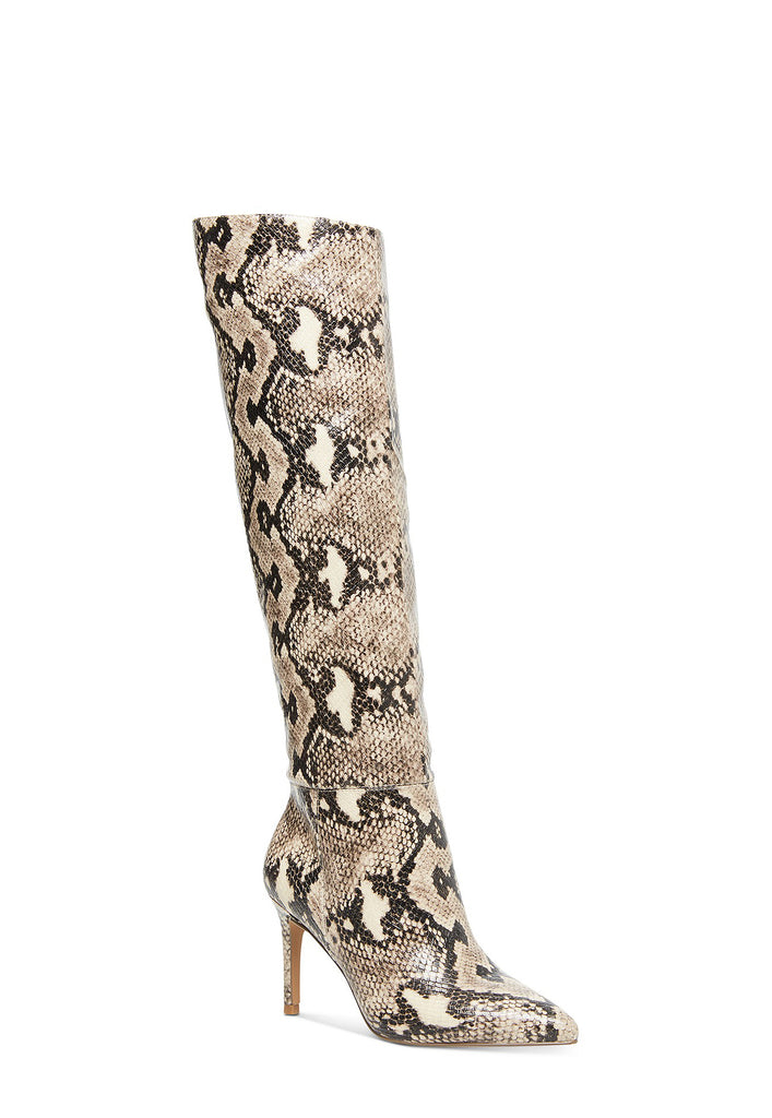 Yieldings Discount Shoes Store's Kimari Boots by Steve Madden in Beige Snake