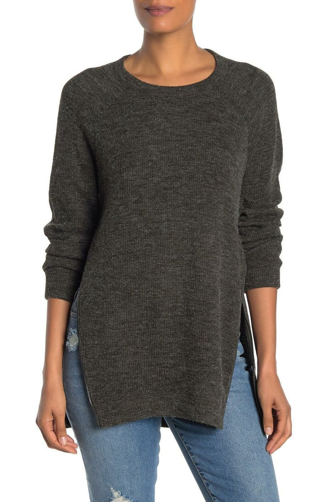Yieldings Discount Clothing Store's Asymmetrical Zipper Sweater by RACHEL Rachel Roy in Charcoal Heather Grey
