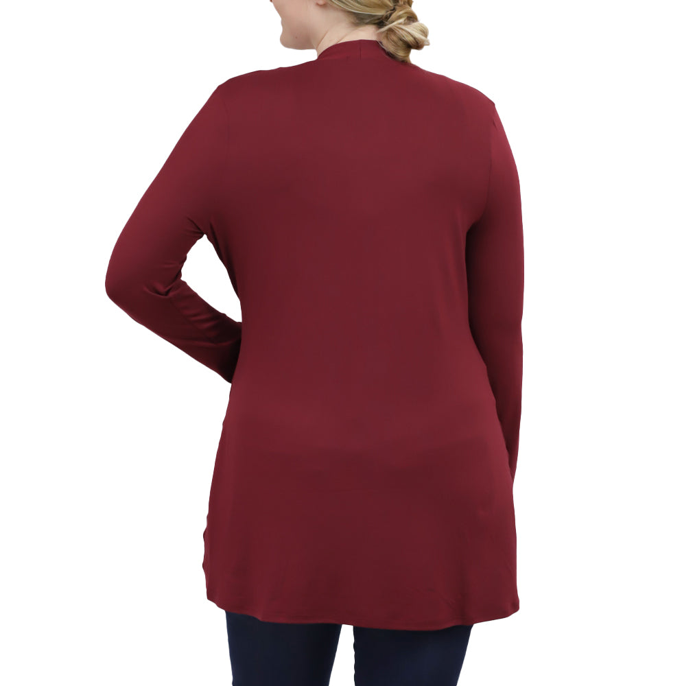 Yieldings Discount Clothing Store's Adriana Cardigan by Kiyonna in Burgundy