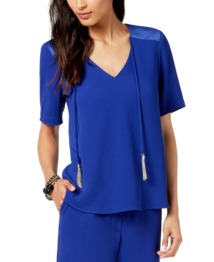 Yieldings Discount Clothing Store's Gold Tassel Tie Top by Trina Turk in Blueberry