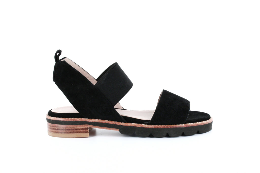 Yieldings Discount Shoes Store's Topical Flat Sandals by Stuart Weitzman in Black Suede