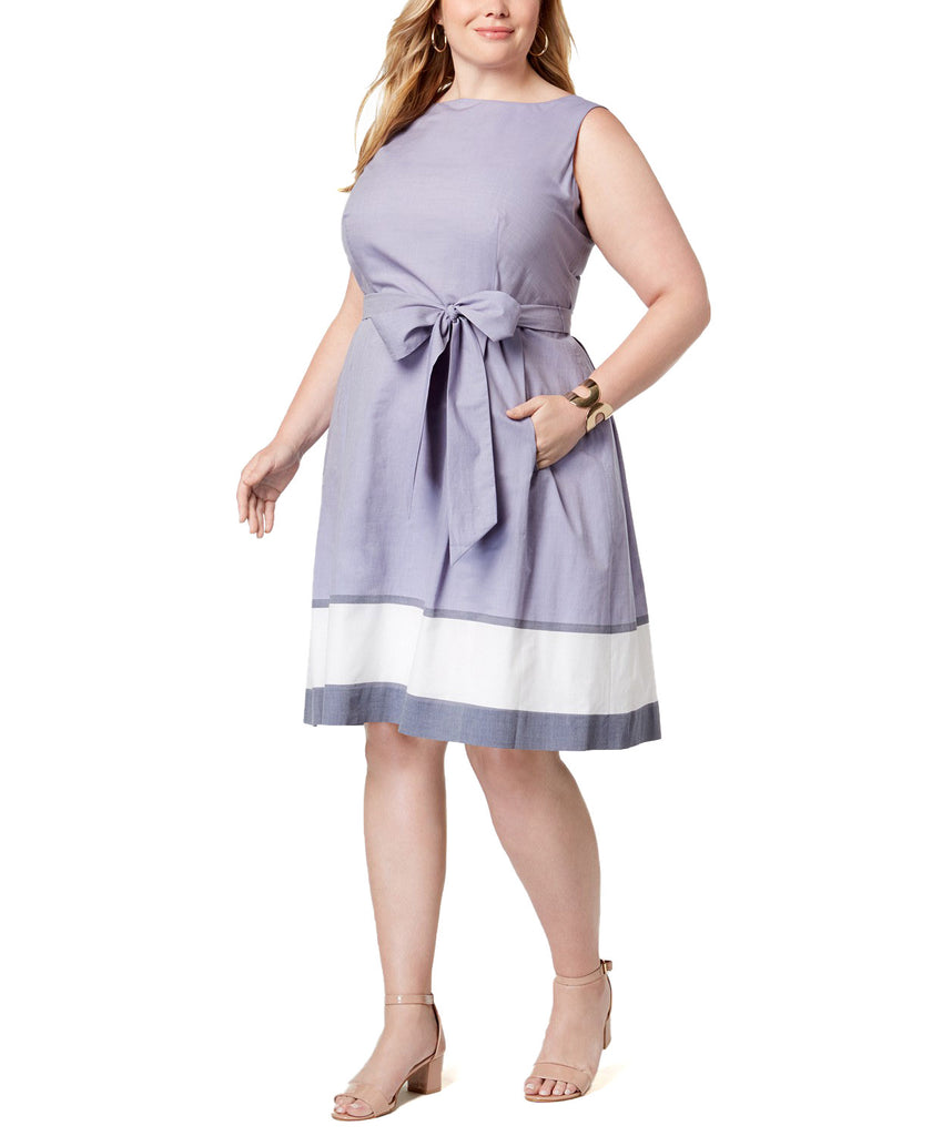 Yieldings Discount Clothing Store's Plus Size Cotton Fit & Flare Dress by Anne Klein in Eton Blue Combo