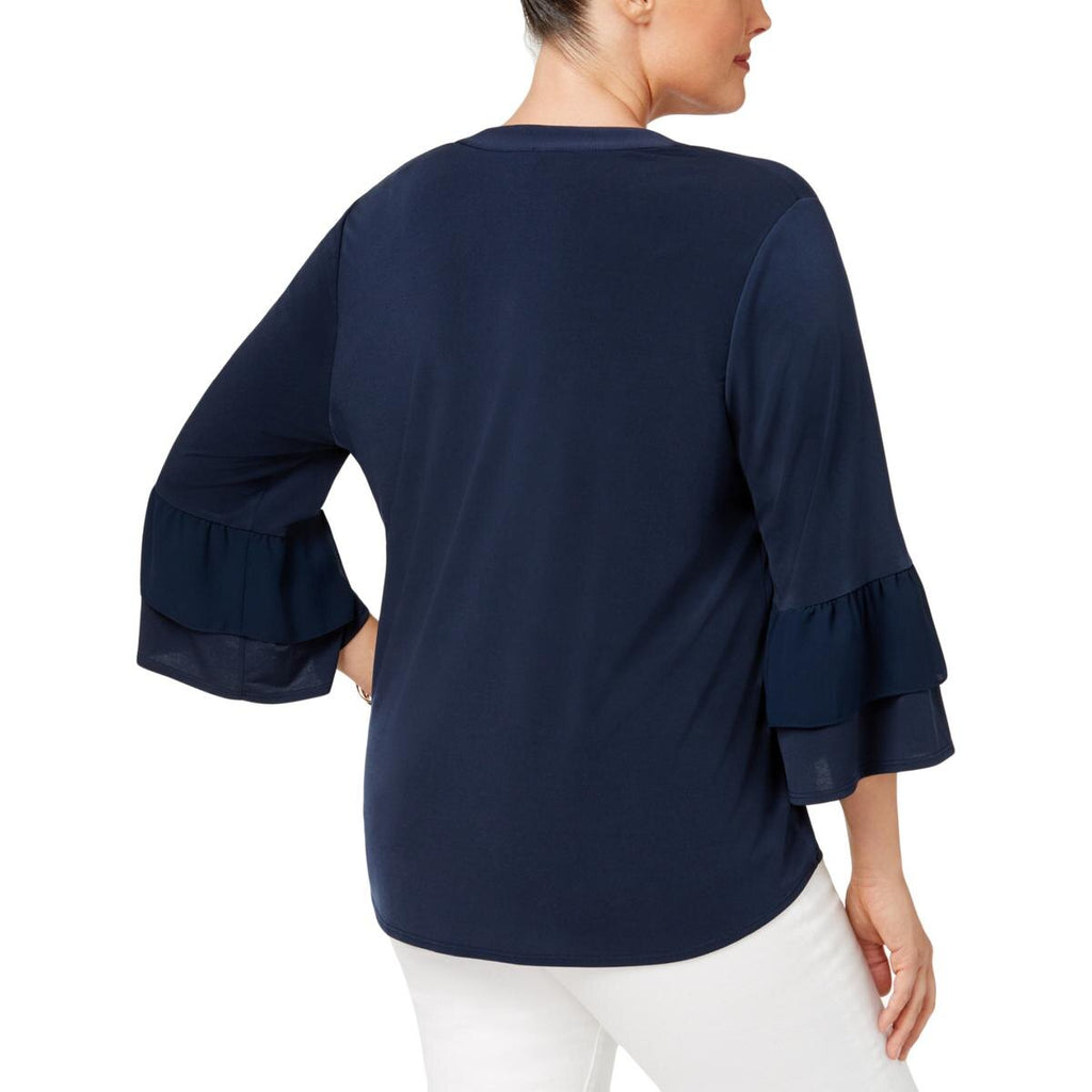 Yieldings Discount Clothing Store's Ruffled Peasant Top by NY Collection in Navy Omnibus