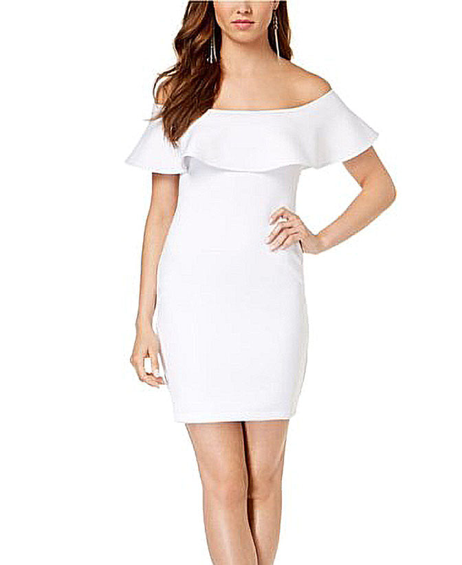 Yieldings Discount Clothing Store's Tori Off Shoulder Ruffle Dress by Guess in White