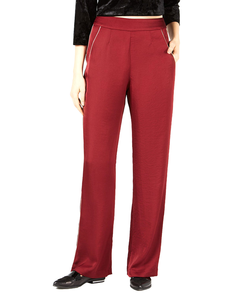 Yieldings Discount Clothing Store's Piped Wide-Leg Pants by Leyden in Burgundy