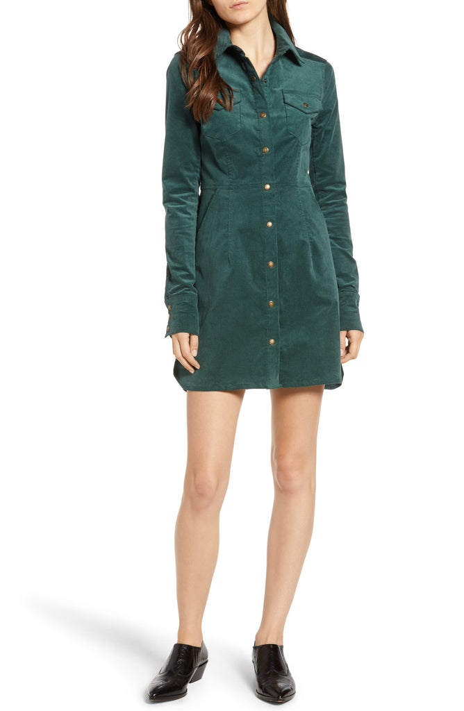 Yieldings Discount Clothing Store's Dynamite in Cord Mini Dress by Free People in Pine