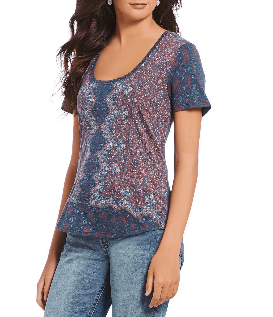 Yieldings Discount Clothing Store's Allover Floral Printed T-Shirt by Lucky Brand in Navy