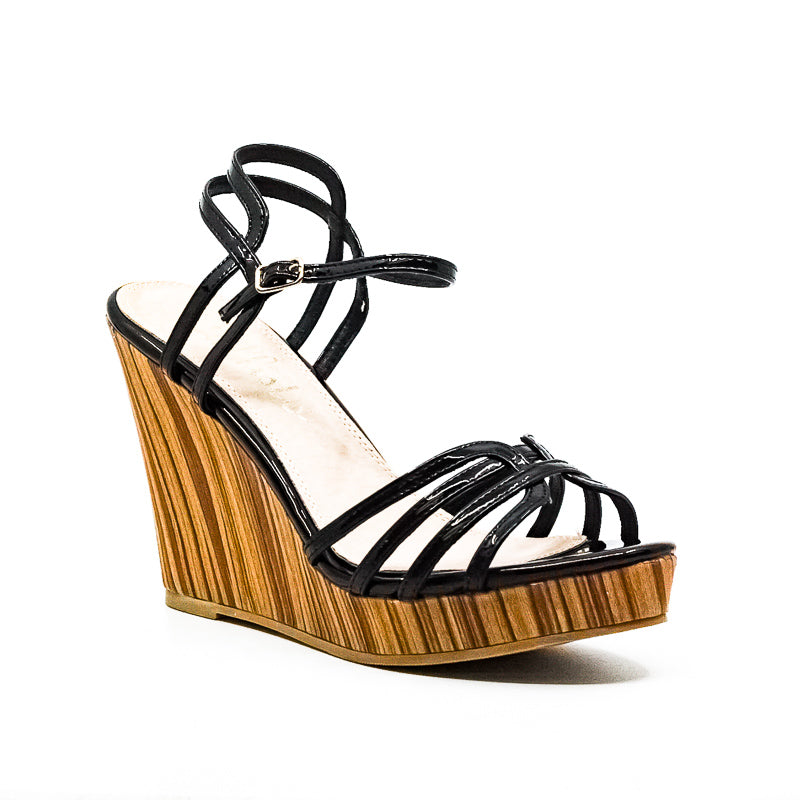 Callisto Of California | Patent Wedge Sandals