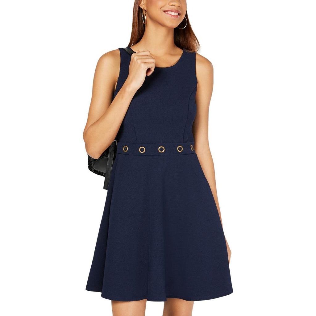 Yieldings Discount Clothing Store's Grommet-Waist Fit & Flare Dress by BCX in Navy