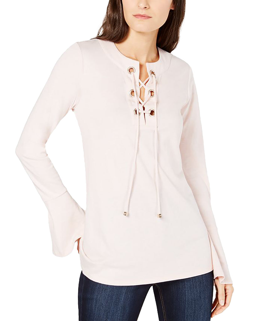 Yieldings Discount Clothing Store's Grommet Lace-up Knit Top by MICHAEL Michael Kors in Rose Water