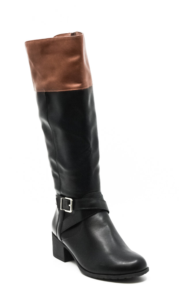 Yieldings Discount Shoes Store's Venesa Riding Boots by Style & Co in Black/Brown