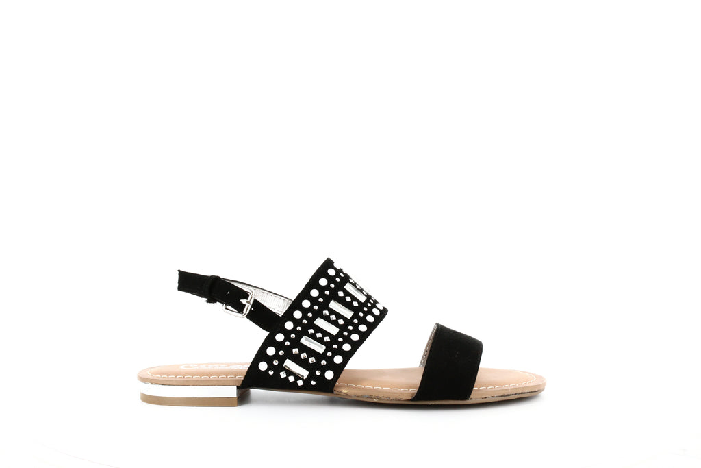 Yieldings Discount Shoes Store's Verity Embellished Flat Sandals by Carlos by Carlos Santana in Black