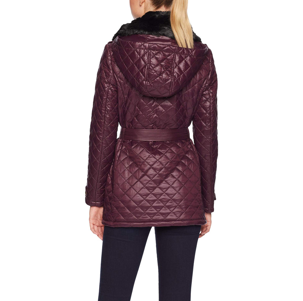 Yieldings Discount Clothing Store's Faux Fur Trim Diamond-Quilted Jacket by Lauren by Ralph Lauren in Burgundy