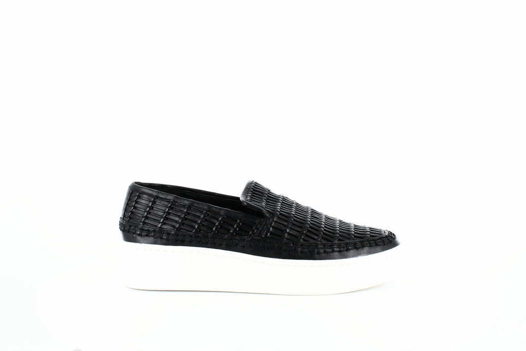 Yieldings Discount Shoes Store's Stafford Woven Sneakers by Vince in Black Leather