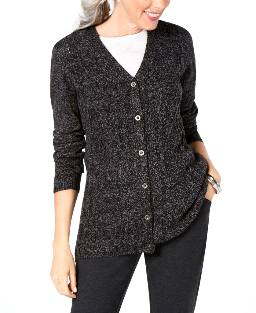 Yieldings Discount Clothing Store's Button Up Cardigan by Karen Scott in Black Ash