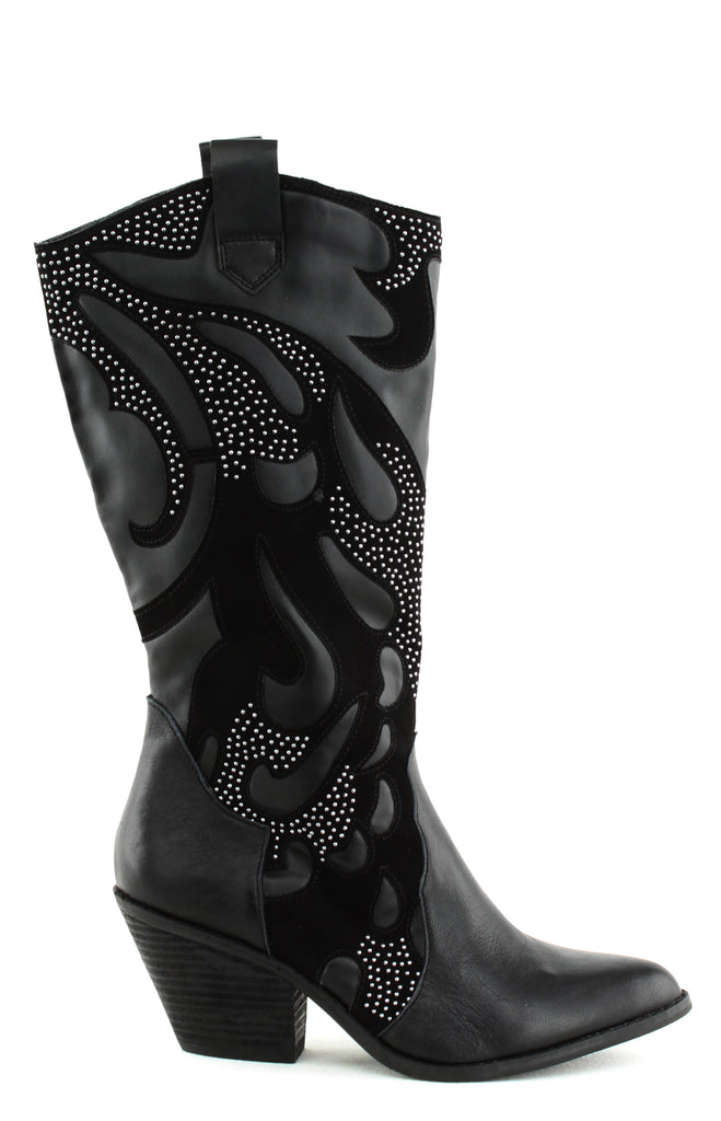 Yieldings Discount Shoes Store's Axel Studded Western Boots by Carlos by Carlos Santana in Black