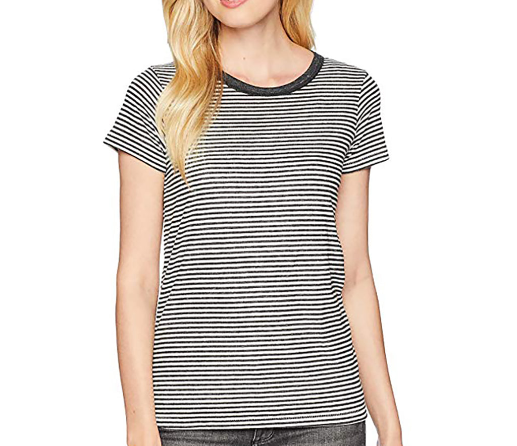 Yieldings Discount Clothing Store's Striped Eco-Jersey T-Shirt by Alternative in Classic Black Stripe