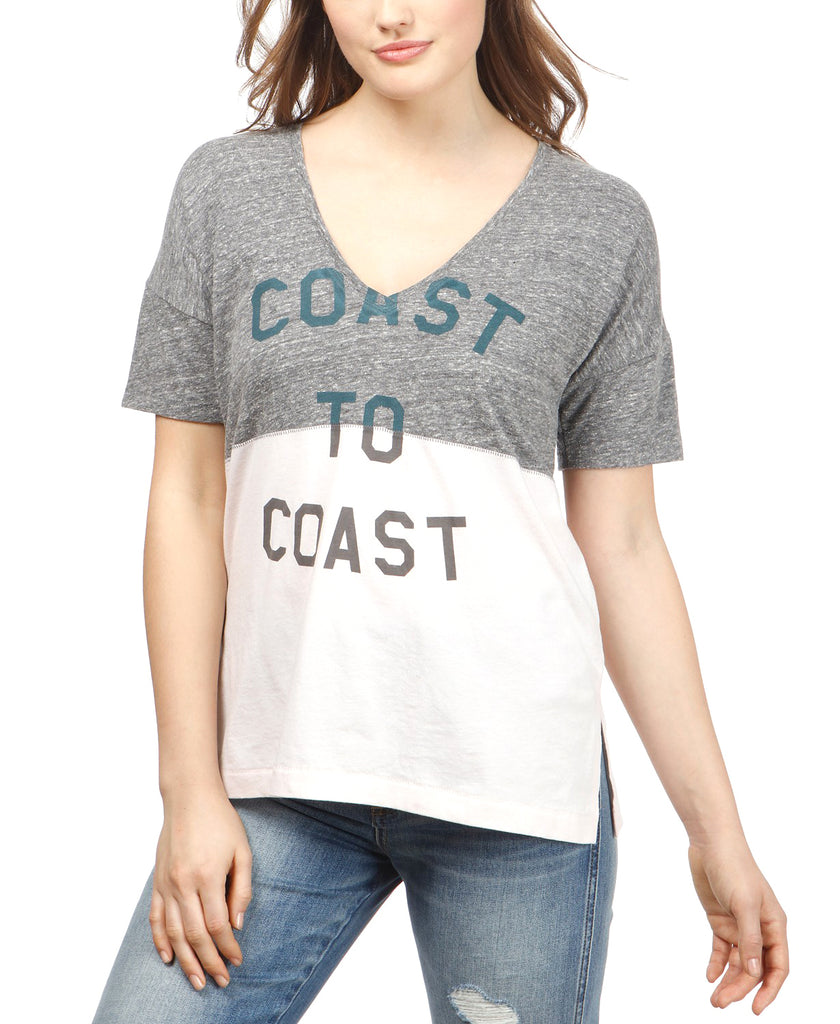 Yieldings Discount Clothing Store's Spliced Coast To Coast T-Shirt by Lucky Brand in Gray