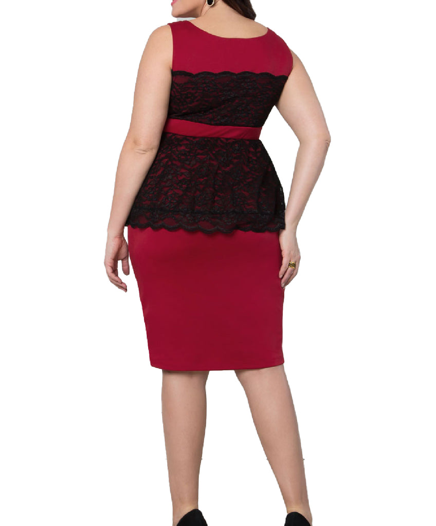 Yieldings Discount Clothing Store's Lady in Lace Peplum Dress by Kiyonna in Red