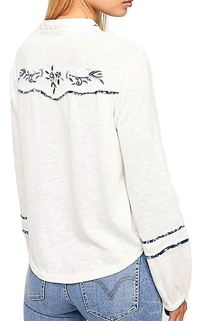 Free People | Sundance Kid Embroidered Henley Long-Sleeve Top