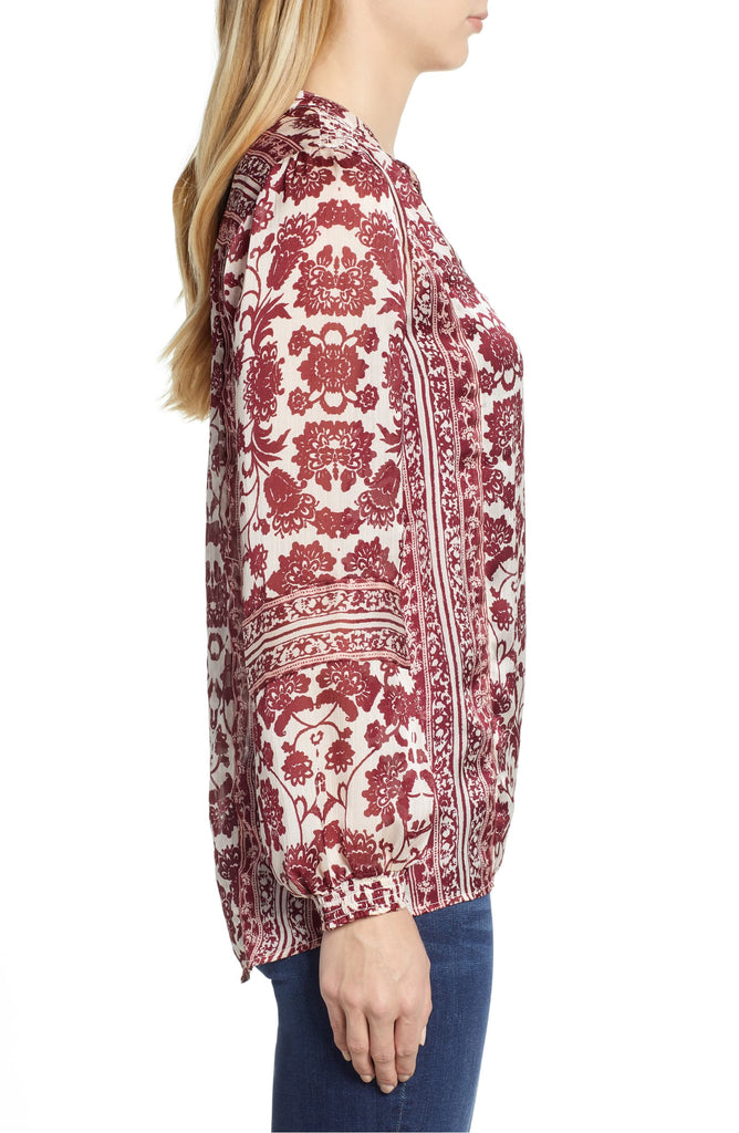 Yieldings Discount Clothing Store's Border Print Peasant Top by Lucky Brand in Multi