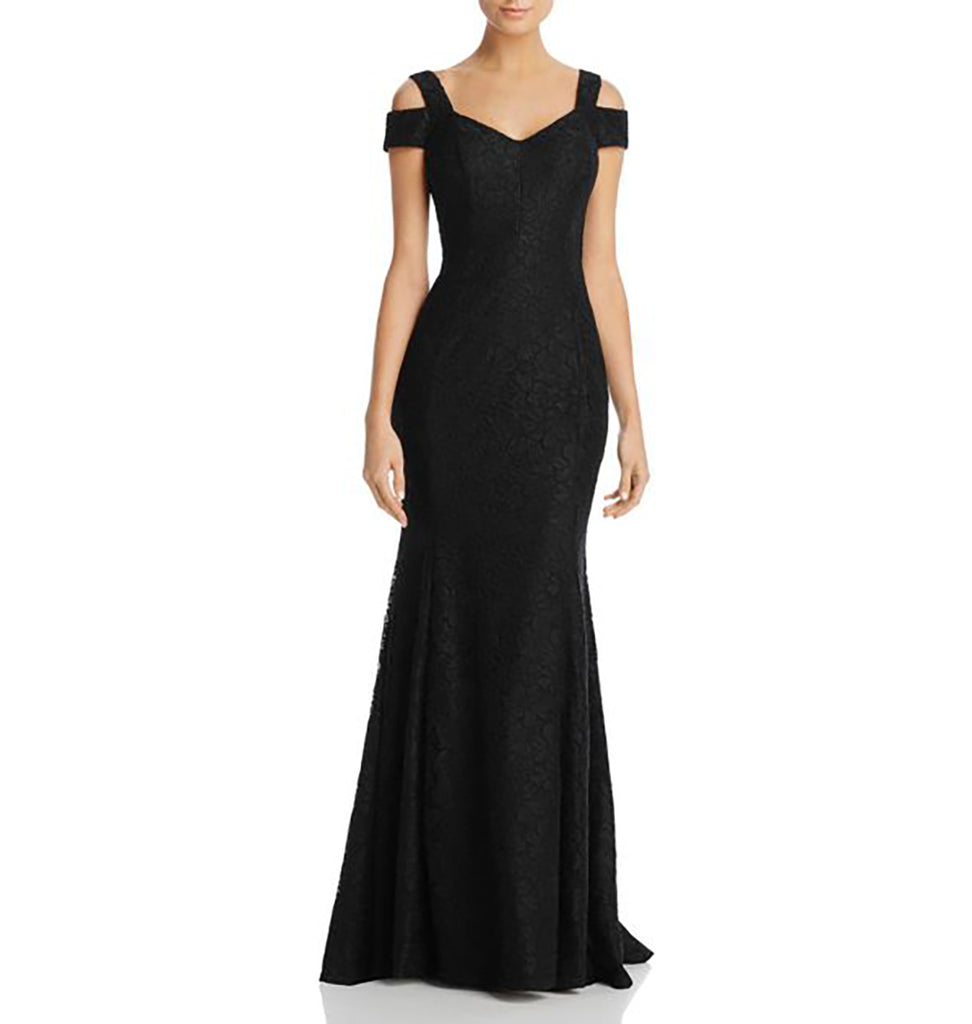 Yieldings Discount Clothing Store's Lace Open Shoulder Evening Dress by Aqua in Black