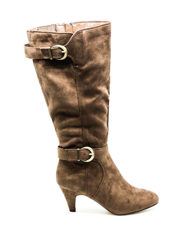 Yieldings Discount Shoes Store's Toni II Plus Wide Calf Heel Boots by Bella Vita in Fawn