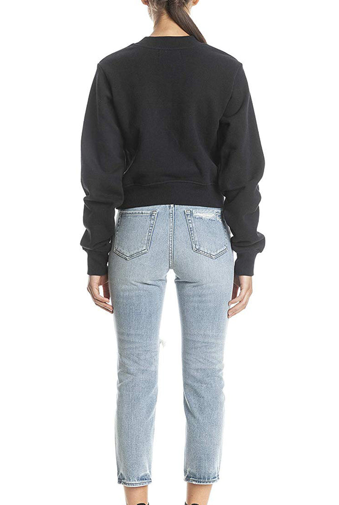 Yieldings Discount Clothing Store's Embroidered Crewneck Sweater by Kendall + Kylie in Black