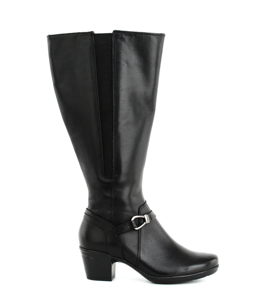 Yieldings Discount Shoes Store's Emslie Sinai Calf High Boots by Clarks in Black Leather