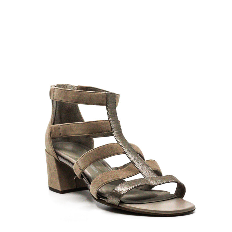 Yieldings Discount Shoes Store's Alaina Caged Block Heel Sandals by Rockport in Light Grey
