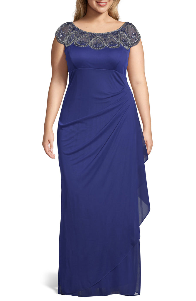 Yieldings Discount Clothing Store's Beaded Neck Empire Gown by Xscape in Blue