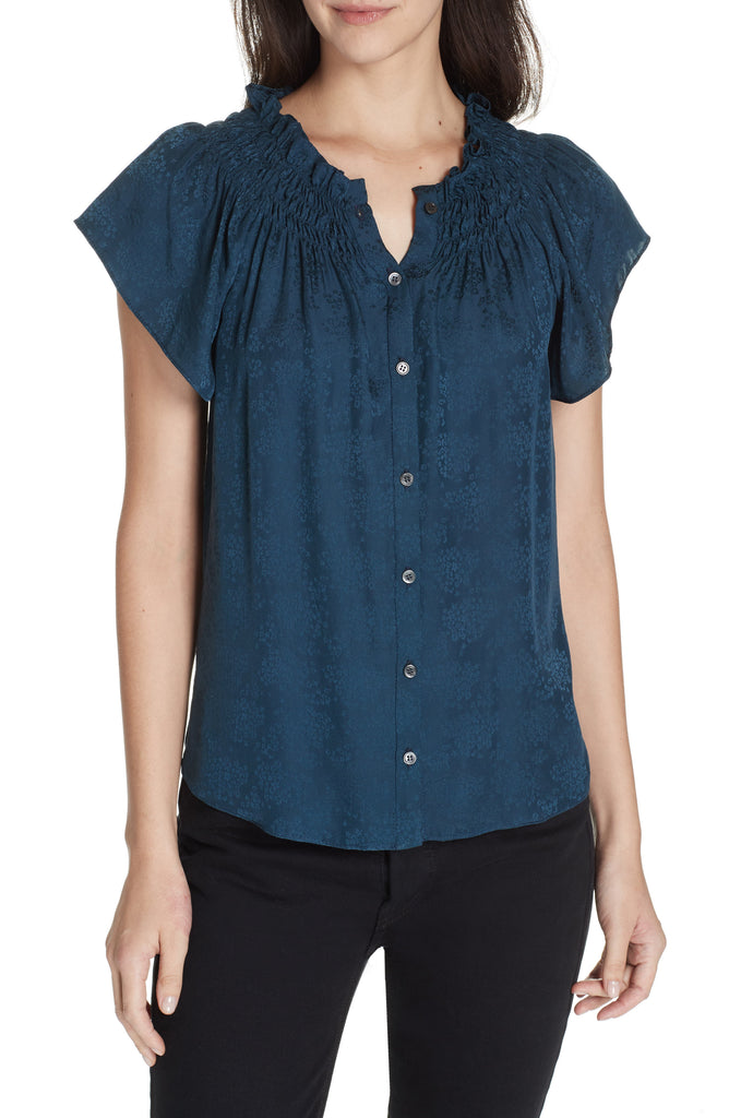 Yieldings Discount Clothing Store's Jacquard Silk Top by Rebecca Taylor in Storm
