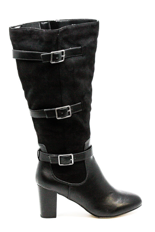 Yieldings Discount Shoes Store's Plus Wide Calf Heel Boots by Bella Vita in Black