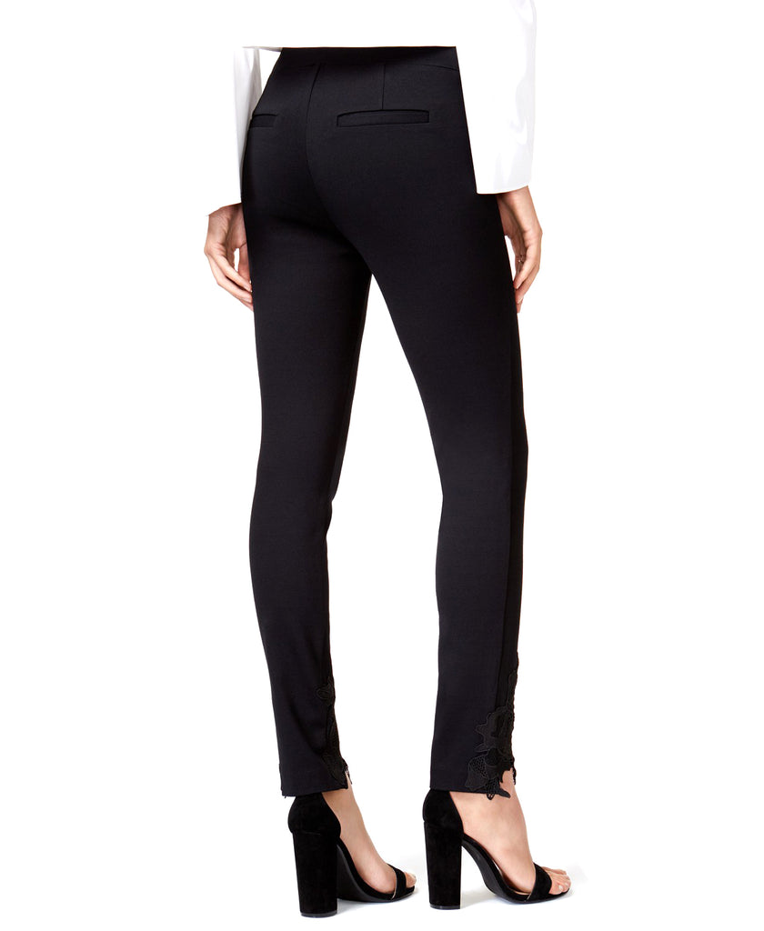 Yieldings Discount Clothing Store's Lace-Trim Skinny Pants by Bar III in Deep Black