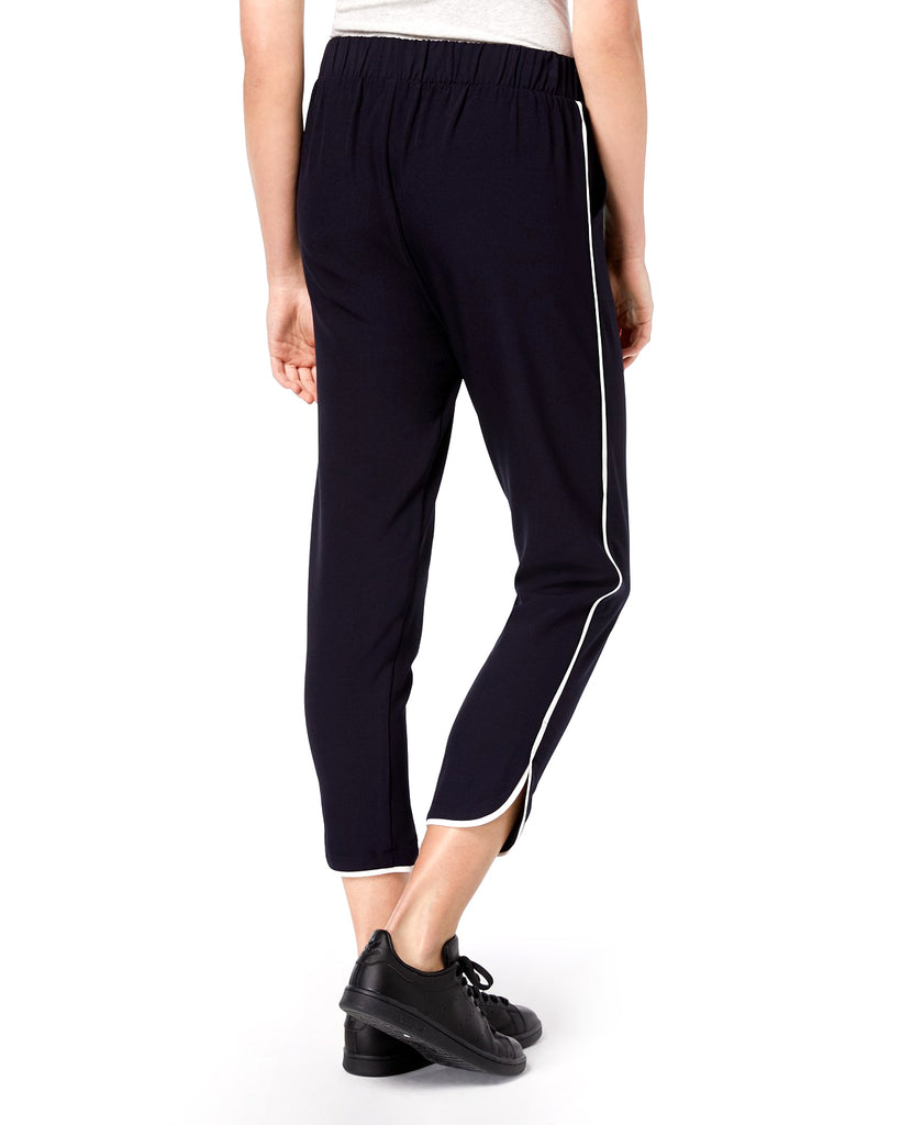 Yieldings Discount Clothing Store's Dolphin Hem Piped Jogger Pants by Be Bop in Navy/White