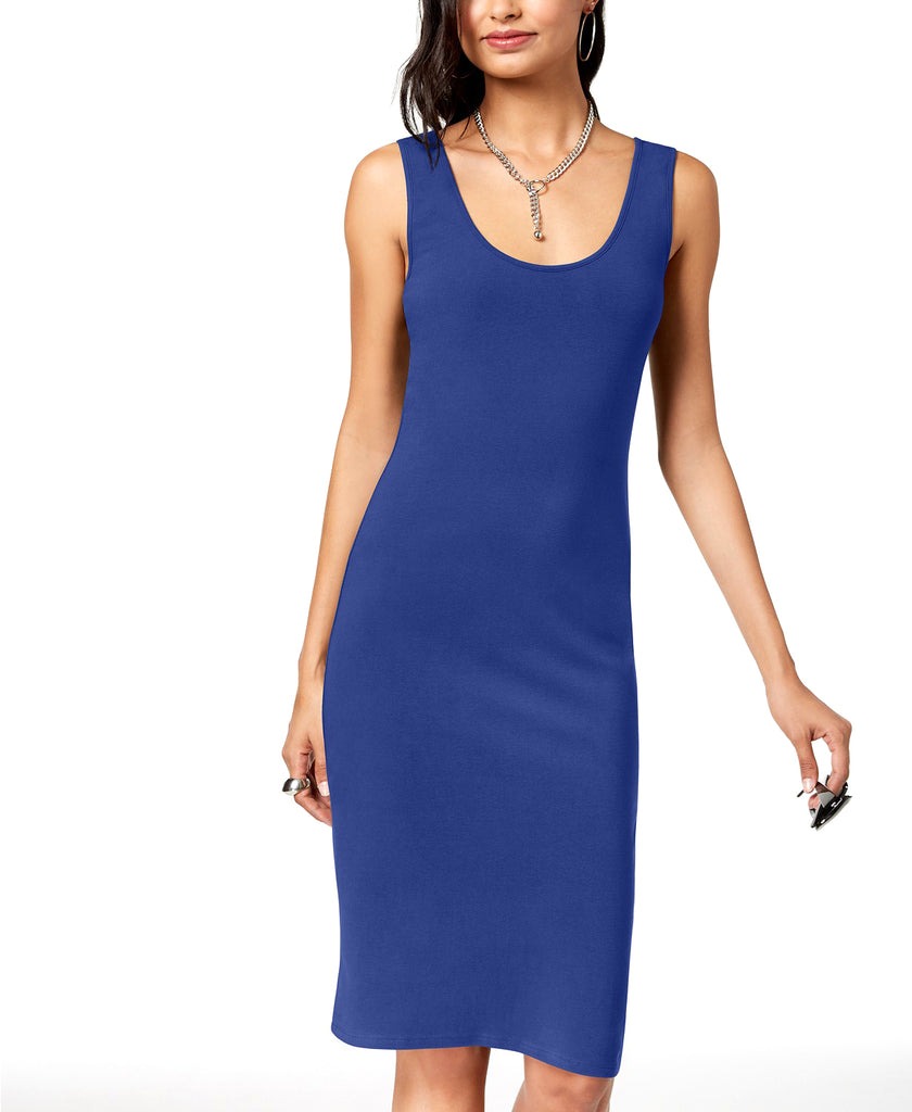 Yieldings Discount Clothing Store's Sleeveless Bodycon Dress by Planet Gold in Clematias Blue
