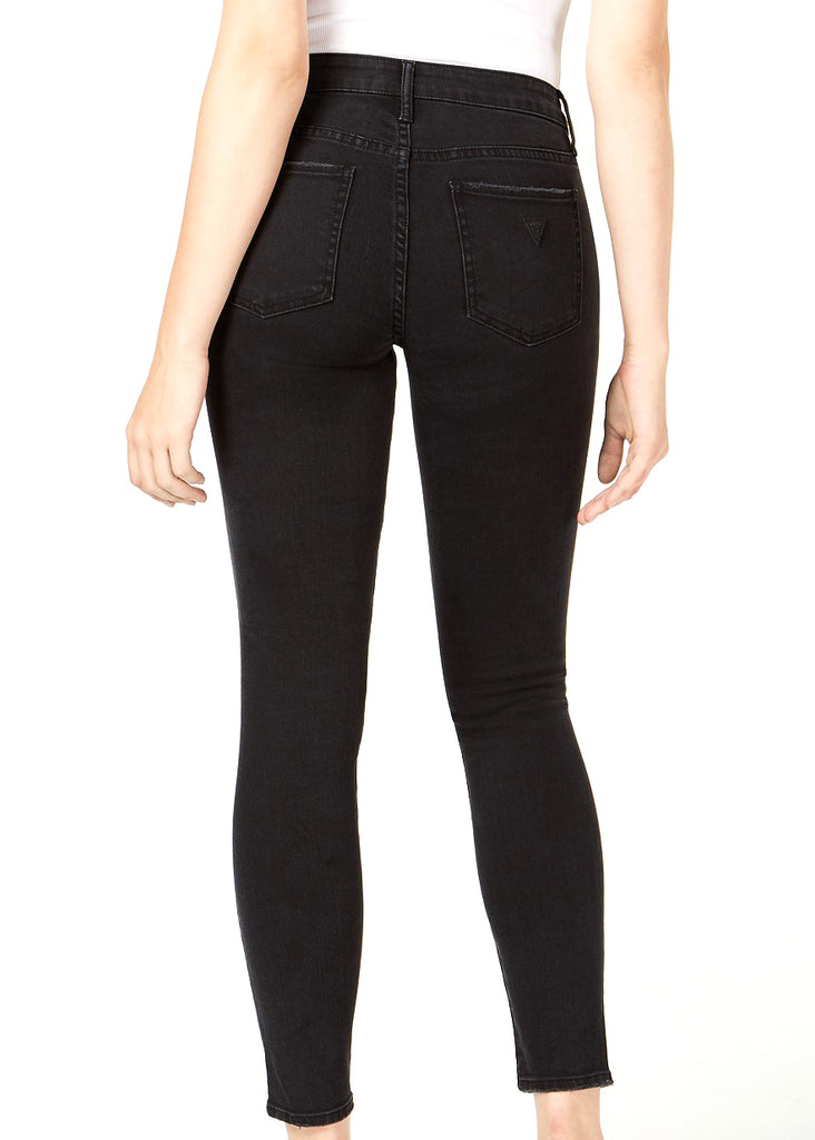 Yieldings Discount Clothing Store's Sexy Curve Embellished Faded Wash Jeans by Guess in Black