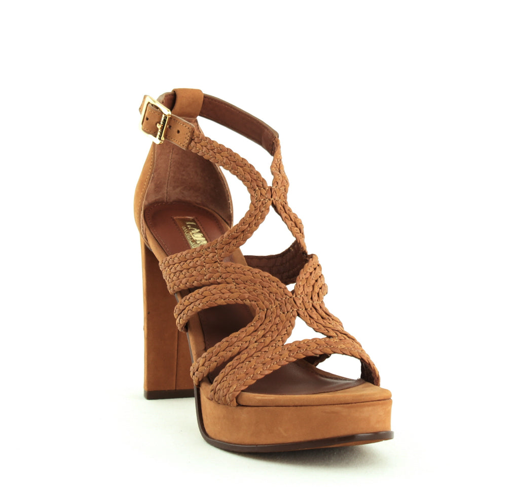 Yieldings Discount Shoes Store's Aleena Block Heel Sandals by Lauren by Ralph Lauren in Polo Tan