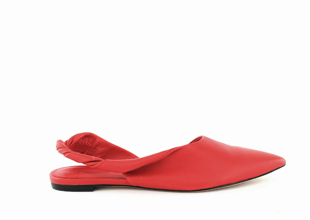 Yieldings Discount Shoes Store's Sham Leather Slingback Flats by Sigerson Morrison in Rosso
